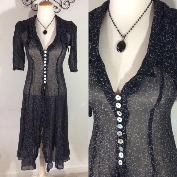 Vintage Dresses & Skirts - Vintage Sheer Button Up Dress Cover 90's Swirls